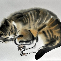 Sleeping cat. Watercolour.