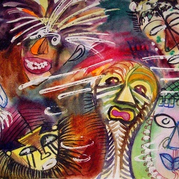 African masks. Watercolour.