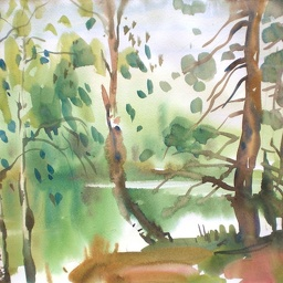 Hannusjarvi the lake. Watercolour.