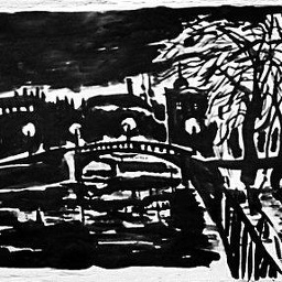 Fontanka-river at night. Ink