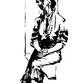 The sitting elderly woman. Ink.