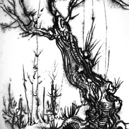 Old tree. Water-soluble pencil