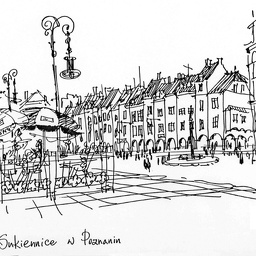 Poznan, downtown. Ink