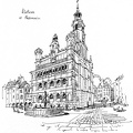 The town hall in Poznan. Ink