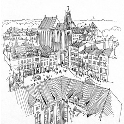 The view from the Torun's town hall. Ink