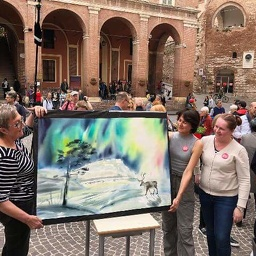Watercolor demonstration at Fabriano-In-Aquarello festival, Italy