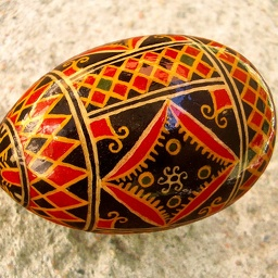 Painted wooden egg (Hutsul pysanky)